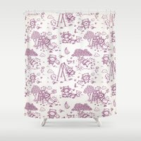 lucy Shower Curtains featuring Lucy by Walmazan