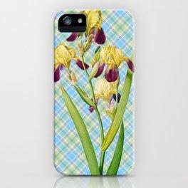 Iris, Iris Squalens, Iris sale, Brown flowered Iris, by Pierre Joseph Redoute, Plate 365 Blue Tartan Texture 4 iPhone Case