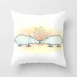 Hippo Love Throw Pillow