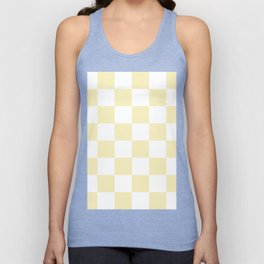 Large Checkered - White and Blond Yellow Unisex Tank Top