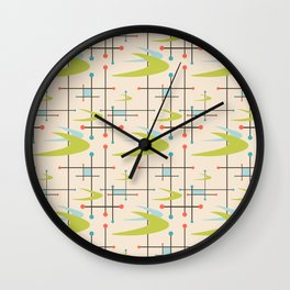 Mid Century Modern in Lime and Blush Wall Clock