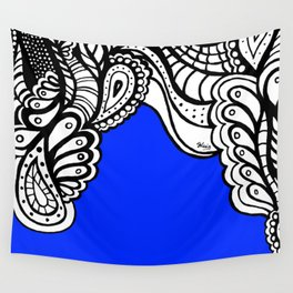 Blue Royal Doodle Artwork Wall Tapestry
