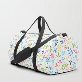 Multicolored Assorted Leaf Silhouette Pattern Duffle Bag
