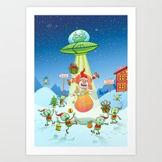 Santa Claus Abducted by a UFO just before Christmas Art Print