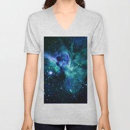 Blue Turquoise Teal Carina Nebula Unisex V-Neck