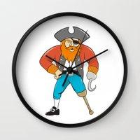 captain hook Wall Clocks featuring Captain Hook Pirate Wooden Leg Cartoon by patrimonio