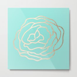 Flower in White Gold Sands on Tropical Sea Blue Metal Print