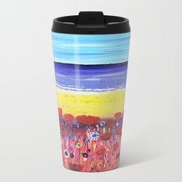 Poppies by the Beach Metal Travel Mug