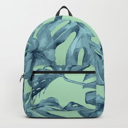 Tropical Leaves and Flowers Luxe Ocean Teal Blue Pastel Green Backpack