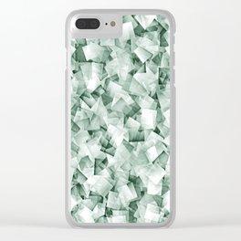 Geometric Stacks Sepia Green Clear iPhone Case