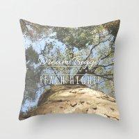 climbing Throw Pillows featuring KEEP CLIMBING by Aonair Designs