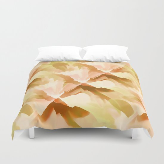 Shades Of Orange Floral Kaleidoscope Abstract Duvet Cover