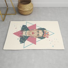 Pastel Frida - Geometric Portrait with Triangles Rug