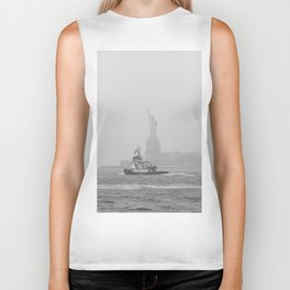 Tug Boat & Statue of Liberty in Black & White Biker Tank