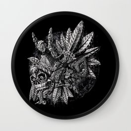 Aztec Great Lizard Warrior 1 (Triceratops) Wall Clock