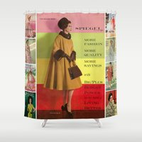givenchy Shower Curtains featuring 1961 Fall/Winter Catalog Cover by Spiegel Catalog