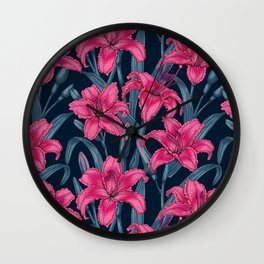 Pink lily flowers Wall Clock