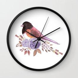 Dark eyed Junco and perennial flowering roses watercolor painting Wall Clock