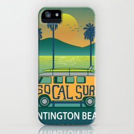 Huntington Beach Surf Van Surfing Shirt iPhone Case