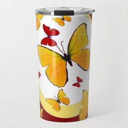 RED & YELLOW BUTTERFLIES &  YELLOW RING BURGUNDY ABSTRACT ART Travel Mug
