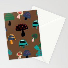 Cute Mushroom Brown Stationery Cards