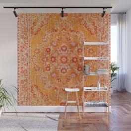 Orange Boho Oriental Vintage Traditional Moroccan Carpet style Design Wall Mural