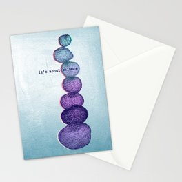It's About Balance - purple & mint ombre sketch illustration Stationery Cards