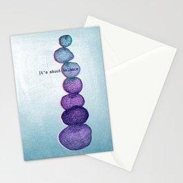 It's About Balance - purple & mint ombre sketch illustration Stationery Cards
