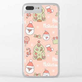 cute pattern with santa claus, christmas tree, candy cane, gift box, sock, lollipop and holly Clear iPhone Case