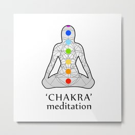 Woman in meditation with the seven chakras and its respective colors Metal Print