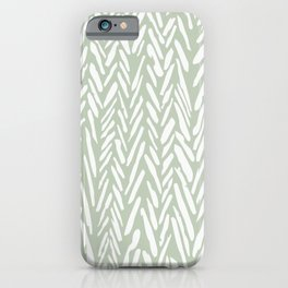Herringbone mudcloth pattern - light green iPhone Case