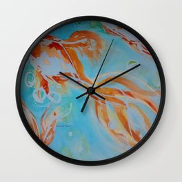 GoldFish Bubbles 1nw watercolor by CheyAnne Sexton Wall Clock