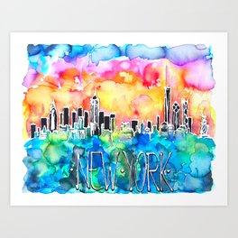 New York / watercolor mixed media bright city skyline modern skyscraper Art Print