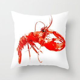 Red Kitchen Seafood Red Lobster design, art, painting Boston Throw Pillow