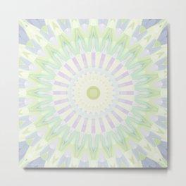 Rhythm of Spring Mandala in Pastel Green, Purple and Yellow Metal Print