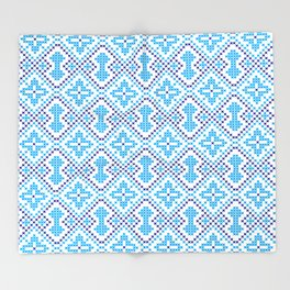 Blue embroidery pattern Throw Blanket