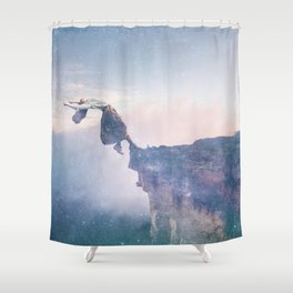 Falling Stars Surreal Levitation Off an Australian Cliff-Stars and a Levatating Woman Shower Curtain