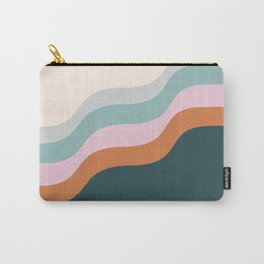 Abstract Diagonal Waves in Teal, Terracotta, and Pink Carry-All Pouch