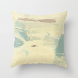 Blue & Cream Monoprint Throw Pillow