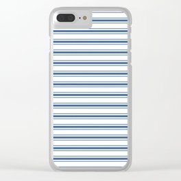 Mattress Ticking Wide Horizontal Stripe in Dark Blue and White Clear iPhone Case