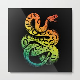 Colorful Rattles Snake Artfully Rainbow Snake Metal Print