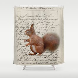 autumn fall seasonal shabby french scripts woodland animal squirrel Shower Curtain