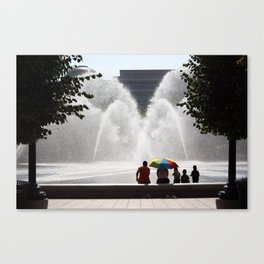 Family at the Fountain Canvas Print