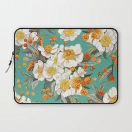 White Peony Orange Flower Bud Laptop Sleeve