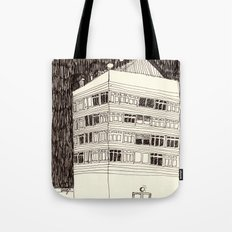 Building at Night with the Moon Tote Bag