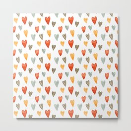 Illustrated Sketch Hearts // Orange // Yellow // Gray Metal Print