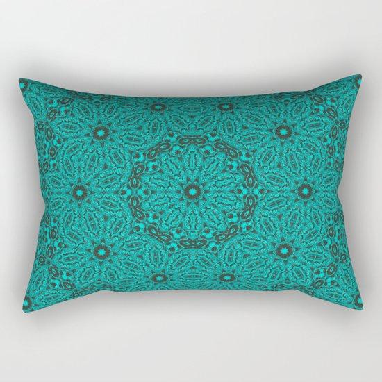 Beautiful mandala in teal and green Rectangular Pillow
