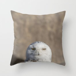 Peekaboo Snowy Owl Throw Pillow