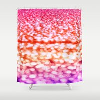 glitter Shower Curtains featuring Sunset Glitter Sparkles by WhimsyRomance&Fun