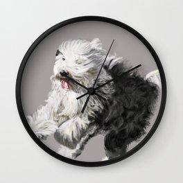 Old English Sheepdog On the Move Wall Clock